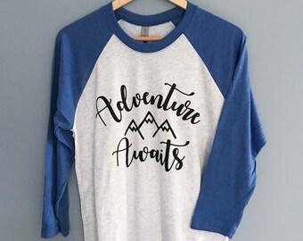 Adventure Awaits Women's 3/4 Sleeve Baseball T-Shirt