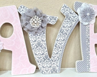 Nursery Name Sign Baby Girl Nursery Decor GLITTERED Pink And - Pink and grey nursery decor