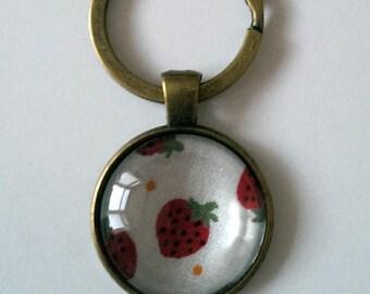 Strawberry Keyring, Red Strawberry Design Keychain Pendant, Antique Bronze Keyring,Strawberry Fabric Keyring