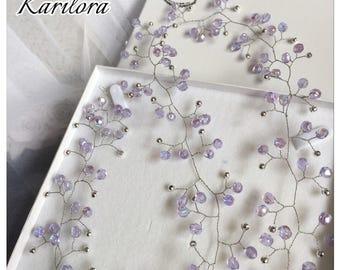 Long Lilac/Silver Bridal Hair Vine, Wedding Hair Accessories, Wedding, Party,Prom Headpiece
