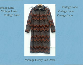 Vintage Henry Lee Dress One Size M/L _Dinner_Cocktail_Party_Geometric Pattern
