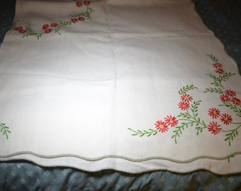Vintage Tablecloth Embroidered with Red Flowers and Green Leaves 56 x 72