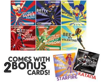 DC Superhero Girls Valentines Day Cards (Instant Download)