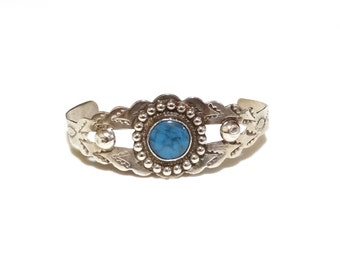 Vintage Turquoise Cuff Bracelet Sterling Silver Native American Indian Southwest Jewelry Stamped Dainty Child or Small Adult Size