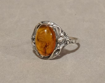 Antique Amber Ring Sterling Silver Victorian Art Nouveau Arts and Crafts Butterscotch Orange Yellow Amber Jewelry Size 9 Makers Mark Unique