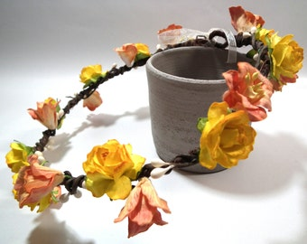 Yellow/Peach Rose/ Lily Floral Crown/ Head Piece/ Traditional/ Bridal/ Wedding Hair Accessories/ Bridesmaid Hair Piece/ Wedding Flower Crown