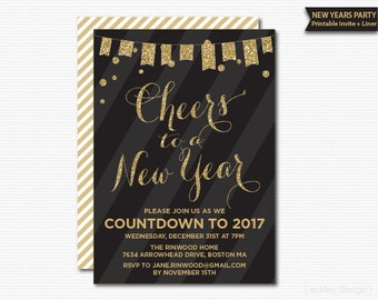 New Years Invitation New Years Party Invite New Years Party Invitation Gold Glitter Confetti Black Stripes Printable Countdown to 2016