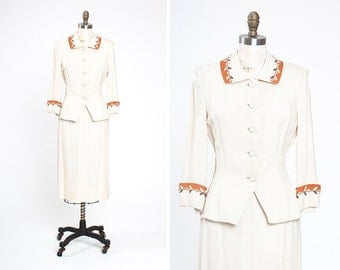 1950s Wallace Ivory and Copper Linen Skirt Suit with Soutache and Rhinestone Details