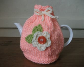 Hand Knitted Peach & Cream Flower Tea Cosy For A Small Teapot (1-2 cup)