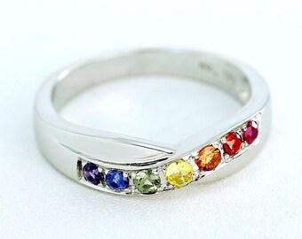 lgbt pride rainbow statement ring sterling silver unisex unusual natural sapphire jewelry copenhagen ring r2072 925 - Rainbow Wedding Rings