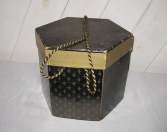 Vintage Hat Box, Black Gold Fleur De Lis Design, Mens Hat Box, Fedora