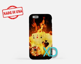 Cards on Fire iPhone Case, Poker iPhone Case, Poker iPhone 8 Case, iPhone 6s Case, iPhone 7 Case, Phone Case, iPhone X Case, SE Case