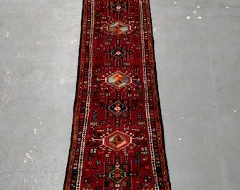 Persian Rug - 1980s Hand-Knotted Karaja Persian Rug Runner (3489)