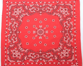 Vintage 60s Elephant Trunk Up Red Fast Color Bandana 1960s Rockabilly Work Wear Handkerchief Cotton Western Hillbilly Chore Head Scarf