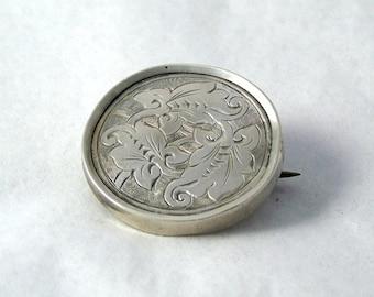 Vintage Sterling Silver Brooch, Victorian Oak Leaf Brooch, Round Silver Brooch, Victorian Silver Pin, Leaf Brooch