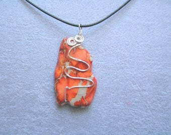 Orange Jasper pendant, semi-precious stone wire wrapped handmade gift under 20 gift for her GBT289
