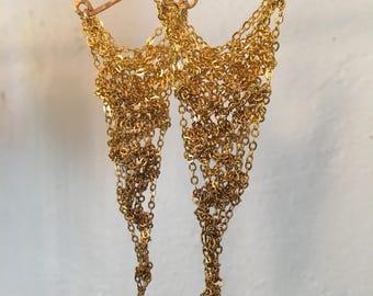 gold crochet earrings small ombre