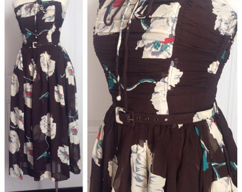 Vtg 50s Chiffon Floral Party Dress Strapless Formal