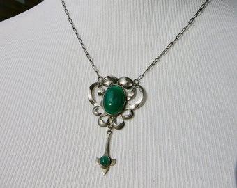 Art Nouveau Necklace, Art Deco Sterling Necklace, Green Agate Art Nouveau Pendant, Vintage Deco Jewelry, Art Nouveau Jewelry