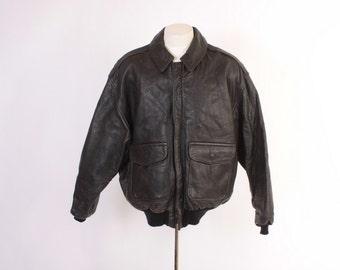 Vintage 80s AVIREX A-2 Leather JACKET / 1980s Dark Brown Leather Pilot Bomber L - XL