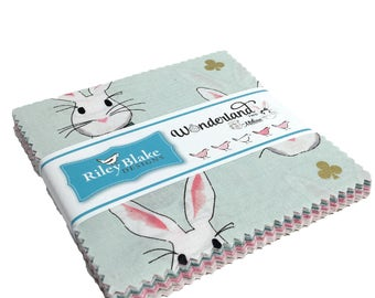 "Wonderland Charm Pack 42 pcs - 5"" Charm Pack - Bunny Fabric - Riley Blake - Wonderland Collection Charm Pack - Precut Fabric - Bunny Novelty"