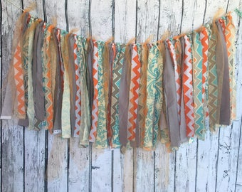 Orange, Teal and Grey fabric bunting