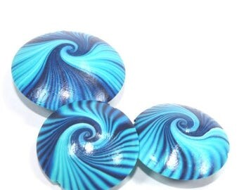 SPRING SALE Polymer Clay beads, swirl lentil beads in blue, turquoise and white, unique pattern, elegant beads Set of 3