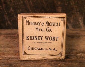 "Murray & Nickel Mfg. Co. ""Kidney Wort"" (Cotyledon Umbilicus) Unopened Herb Box Early 1900s label - Kitchen Accent Decoration"