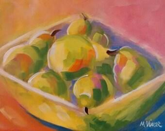 Kitchen decor fruit greenery still life original painting impressionism painting art