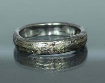 Organic Wedding Band  Mens Wedding Ring  Rustic Wedding Band  Gold Silver Wedding Band  Gold Silver Engagement Ring