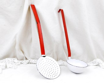Vintage French Red and White Chippy Enamelware Matching Ladle and Strainer, French Country Decor, Kitchen, Cooking Utensil, Retro Home
