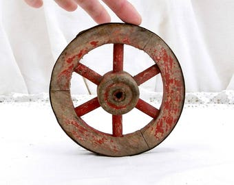 Small Antique Primitive French Wooden Cartwheel with Red Painted Worn Patina, French Toy Wheel, Wheel Right, French Country Decor, Brocante