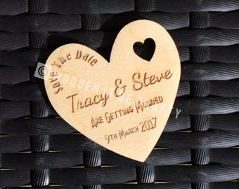 Wooden Heart Shape Save The Date Magnet