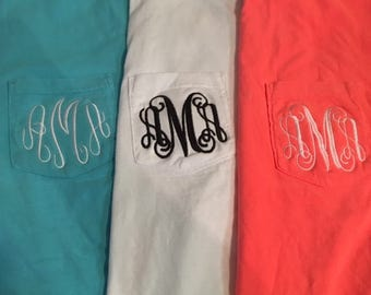 Back to School Special on Monogrammed  Comfort Color Pocket T-shirt Short Sleeve