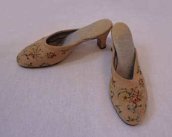 Pink Tapestry, Petit Point,  Boudoir Slippers