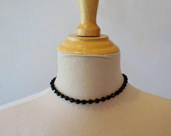 Vintage Necklace - Classic, Art Deco, Black French Jet Choker - Glass