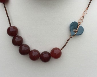 Carnelian Beaded Necklace, Heart Gemstone Necklace, Edinburgh Designer, Handmade Gemstone Necklace, K Brown Jewellery