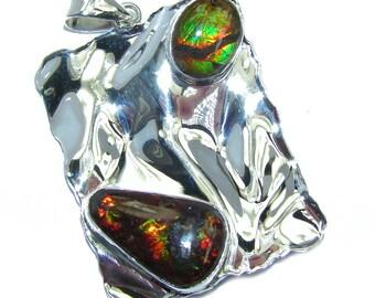 Ammolite Sterling Silver Pendant - weight 9.60g - dim L -1 7 8, W - 1 1 8, T - 3 16 inch - code 12-sie-16-34