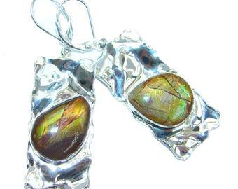 Ammolite Sterling Silver Earrings - weight 11.60g - dim L - 2 1 8, W - 3 4, T - 3 16 inch - code 20-gru-16-56