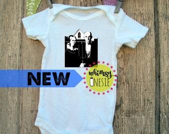 American Gothic art Whimsy Onesie artist painter newborn pregnant onesie new mom birth announcement black and white baby shower