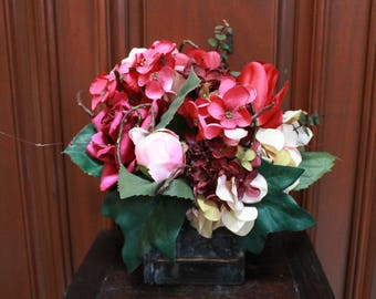 Silk Flower Arrangement - Red/ Pink/Golden Flowers (S17-58)