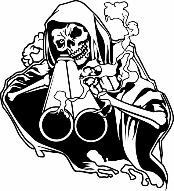 Drawings Easy Skull With Guns: Grim Reaper Shotgun Hunting Smoke Skull Gun Car Truck Window