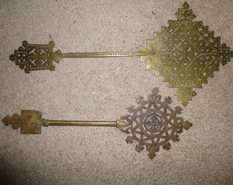 Set of 2 hand made Ethiopian Processional or Blessing Coptic Crosses - Antique hand made intricate copper filigree work