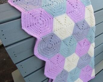 Crochet hexagon blanket, baby blanket, crochet blanket, baby girl baby blanket, ready to ship