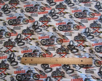 White Motorcycle/Garage/Tires Flannel Fabric by the Yard