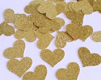 Gold Glitter Hearts - Glitter Wedding Decor- Gold 50th Anniversary Hearts - Glitter Party Decor - Hearts Table Scatter - Confetti Hearts