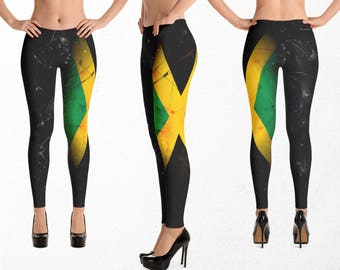 Jamaican Flag Leggings, Sexy Gym Clothes, Jamaica Dancehall Yoga Pants, Gift For Her, Caribbean Pride Clothing