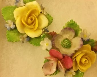 Two Colourful Porcelain Flower Brooches