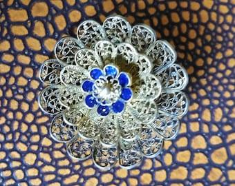 Vintage Silver Filigree and Enamel Flower Brooch