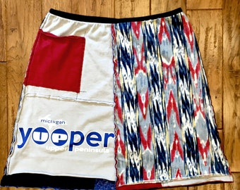 Yooper upcycled tshirt skirt, Upcycled clothing, Women's upcycled, recycled tshirts, Size Large, repurposed, recycled